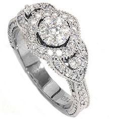 Vintage Diamond Engagement Hand Engraved Antique Art by Pompeii3, $549.00