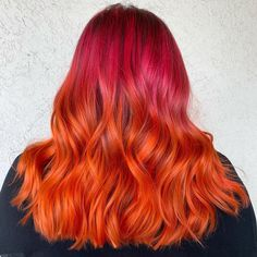 Who else is vibing with it? This long ombre hair features pink to orange color melt, manifesting a flirty aura. Orange Ombre, Orange Color, Long Ombre Hair, Coloured Hair, Color Melting, Latest Hairstyles, Makeup Tips, Beauty Hacks, Most Beautiful