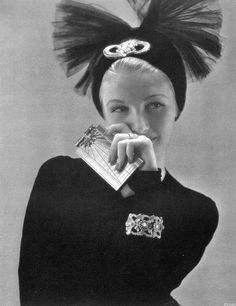 Gwili Andrè is wearing turban by John-Frederics with a diamond clip by Tiffany, photo by Edward Steichen, Vogue, Oct. 15,1939~♛