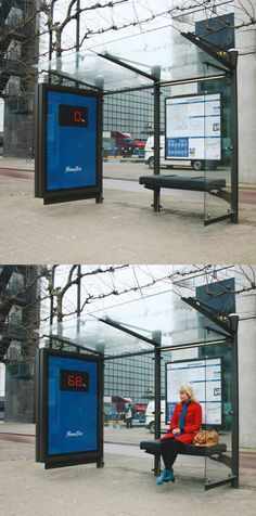 Fitness First bus shelter advertising.