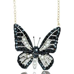 Andrew Hamilton Crawford Small Crystal Butterfly Necklace ($30) ❤ liked on Polyvore featuring jewelry, necklaces, gold, crystal pendant necklace, swarovski crystal jewelry, chain pendants, pendant chain necklace and butterfly pendant