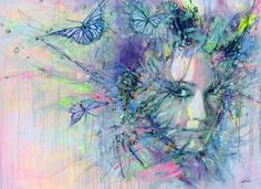 "Saatchi Art Artist Lykke Steenbach Josephsen; Printmaking, ""Butterfly girl - hand colored art print on canvas"" #art"