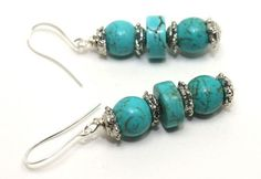 2.25 inches long turquoise and Bali silver dangle earrings