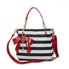 Trendy Bow and Striped Design Shoulder Bag For Women