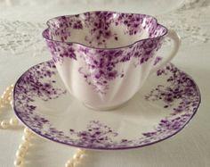 Shelley Dainty Purple Tea Cup & Saucer
