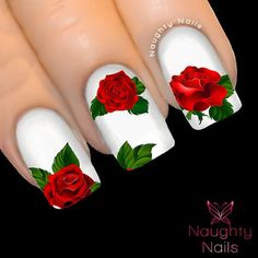 MAJESTIC RED Rose Nail Water Transfer Decal by NaughtyNailsShop