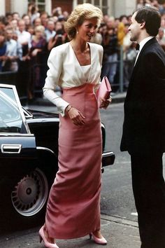 DIANA ~ IN MY FAVORITE DRESS OF HERS BY CATHERINE WALKER.  IT'S BACKLESS.  I PIN EVERY PIC I SEE OF HER WEARING IT.  YOU SHOULD SEE THE BACK.  I ♥ IT.