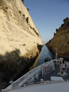 Sailing through the Corinth Canal, Greece
