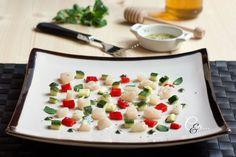 Tartare di pescatrice zucchina e peperone di Tiziana