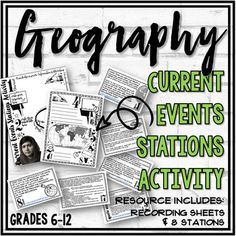 Are you looking for a way to connect Geography to current events? This Geography in the News Stations Activity is an engaging (and simple) way to do it! This activity requires very little prep! Just print the station cards, recording sheets, collect some newspapers and a couple of atlases and you're... Middle School, High School, Geography Map, School Subjects, Recording Sheets, Teacher Hacks, Current Events, Social Studies, Activities