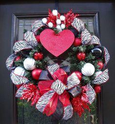 Valentine Wreath Valentine's Day Door Wreath Wild by LuxeWreaths, $119.00