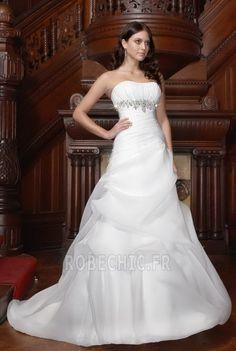 Robe de mariée Fourreau plissé Appliques Sans bretelles Naturel taille