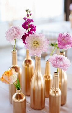 Set of 20 Mixed Gold Glass Bottles for Wedding by LittleScrunchy, £40.00