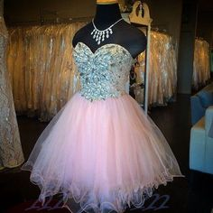 Pearl Pink Homecoming Dress,Short Prom Dresses,Tulle Homecoming Gowns,Formal Dress,Sparkly Homecoming Gown,Cocktail Dress,Sweet 16 Dress