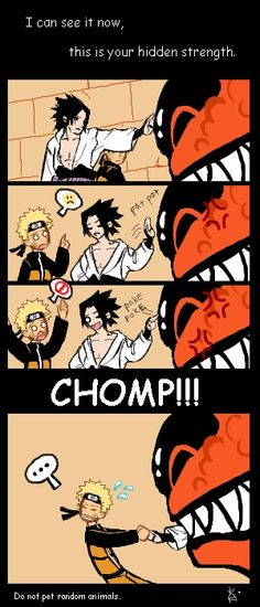 O___O!! ;3 Sasuke, don't pet random animals. Especially big scary ones inside Naruto's mind.