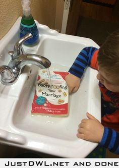 "Walked in the bathroom to find our precious child ""washing"" a book he found."