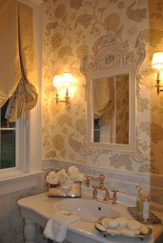 The Enchanted Home: Late week random musings. Use your silver pieces for soaps, flowers, and pump bottles. Home Interior, Interior Design, English Country Decor, Enchanted Home, English House, English Style, French Style, Country Style Homes, Of Wallpaper