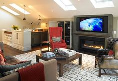 relaxing room ideas | Converted attic becomes a relaxing family room to watch movies and ...