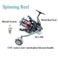 Spinning Reel, Saltwater/Freshwater Fishing Reel Cast Fishing Line Wheel with Snakeskin Surface, CNC Metal Handle and Biaxial System for Larger Fishes, Trout, Bass, Panfish Catfish or Salmon (AFL10000) : http://amzn.to/2uqd05x