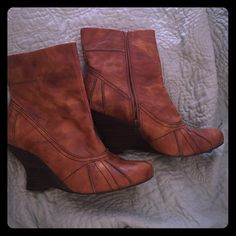"""Super cool booties! Here is a pair of really nice booties!  Leather upper and snazzy interior.  Very comfortable. 2"""" wedge.  Distressed brown leather. Beautiful detail. kenzie Shoes Ankle Boots & Booties"""