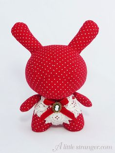 Red Polkadot Plush Dunny by Holly Pop Plush Dolls, Doll Toys, Softies, Plushies, Vinyl Figures, Action Figures, Play Shop, Plastic Design, Vinyl Toys