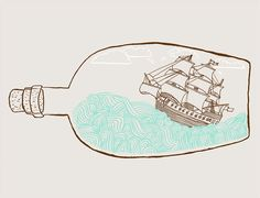 The Original Ship In A Bottle by thispapership on Etsy
