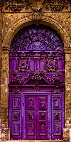 beautiful purple arched door