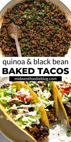 "In these crispy vegetarian black bean tacos, black beans and quinoa combine with a signature taco spice blend for a seriously delicious ""meaty"" filling. Healthy Food Recipes, Veggie Recipes, Mexican Food Recipes, Whole Food Recipes, Diet Recipes, Cooking Recipes, Vegetarian Dinners, Vegetarian Recipes, Vegetarian Taco Filling"