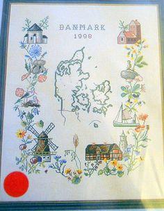 New Cross Stitch Kit Denmark Sampler 1998 Eva Rosenstand Clara Waever Scenes #EvaRosenstand #CountedCrossStitch