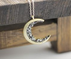 Crescent moon pendant Necklace detailed with Black Diamond Crystals, L