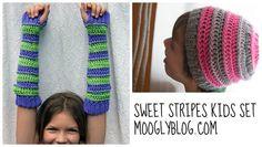Sweet Stripes Kids Set (Wristers, Hat) - Great gift sets - free #crochet patterns on Moogly!