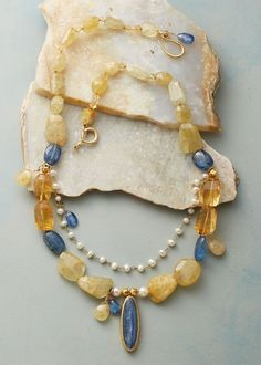 Viveca Necklace - Necklace of citrine, kyanite, pearl and heliodor.