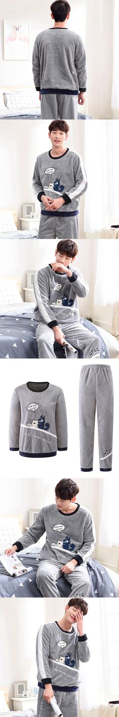 Autumn Winter Flannel Long Sleeve Pajamas Sets For men 1001-8029