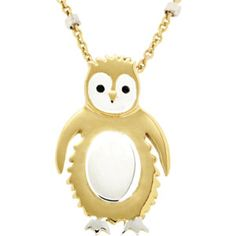 Missoma® Yellow Vermeil Penguin Necklace for Loyalty Penguin Necklace, Coin Necklace, Sterling Silver Chains, Sterling Silver Pendants, Teen Jewelry, Animal Jewelry, Penguins, Jewelery, Jewelry Design