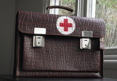 Vintage Red Cross Medical Briefcase or Doctor's Bag by JuniperHome Leather Briefcase, Leather Case, Case Histories, Vintage Cameras, Past Life, Red Cross, Makers Mark, Medical, Hand Painted
