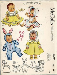 ORIGINAL Doll Clothes Pattern 1657 for 13 inch Tiny Tears Betsy Wetsy by Ideal