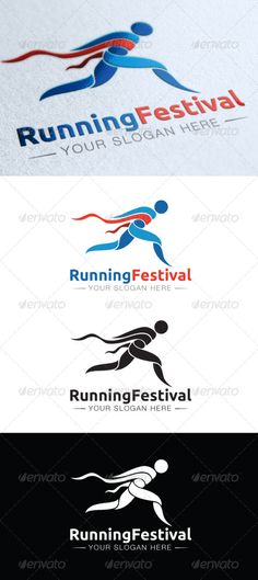 Running Festival  #GraphicRiver         A clean and modern running logo where the runner reaches the finish line.