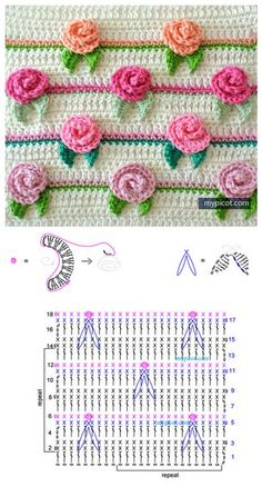 Top Crochet Ideas With Free Patterns - Diy & Crafts Granny Square Crochet Pattern, Crochet Borders, Crochet Diagram, Crochet Chart, Crochet Motif, Diy Crochet, Crochet Flower Tutorial, Crochet Flower Patterns, Crochet Stitches Patterns