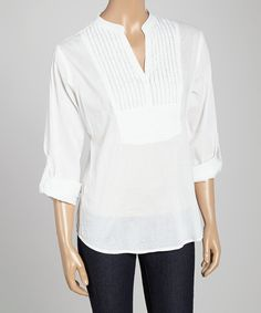 Look at this White Bib Notch Neck Top on #zulily today!