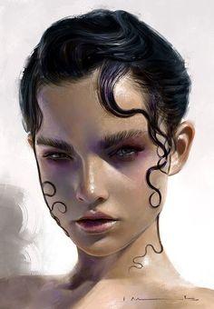 """Ellie Burton"" - Isabella Morawetz {figurative realism art beautiful female head woman face portrait digital painting #loveart} http://morawetzart.com"