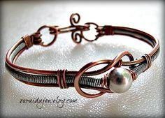 Copper, Steel and Sterling bracelet - Copper Wire Jewelers - Zoraida Bros