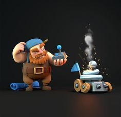 Builder fixing Zappie Character Modeling, Character Drawing, Clash Of Clans, Game Coc, Clash On, Fantasy Concept Art, Game Character Design, Video Game Art, Knight