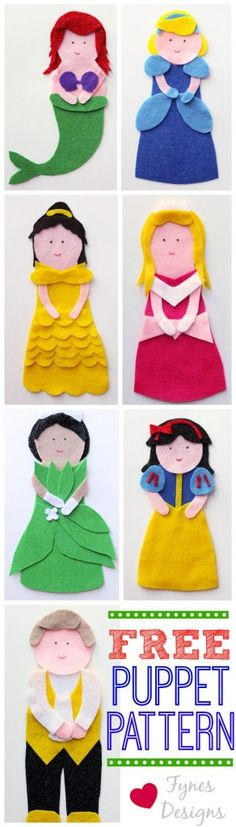 FREE DOWNLOAD!!! NO SEW FREE Disney Princess Puppet pattern from fynesdesigns.com. I feel if we 'sculped' the bottom of these faces a little, it would make the pieces so much prettier? They are a little too round for me. But that's just me!