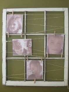 Barn window picture frame. Use pins to hold the photos