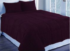 3 Pc Dark Purple Olympic Queen Corduroy Quilted With Poly Fiber Duvet Cover Set