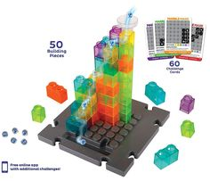 With 50 building pieces and 60 challenge cards, Marble Maze will engage your mind for hours! Marble Toys, Steam Toys, Marble Maze, Challenge Cards, Logic Games, Stem Learning, 3d Puzzles, Learning Through Play, Building Toys