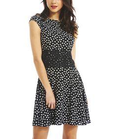 Look at this #zulilyfind! Black & White Lace-Waist Skater Dress by AX Paris #zulilyfinds