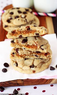 """Peanut Butter Cookie """"Stuffed"""" Chocolate Chip Cookies"""