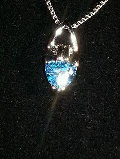 Blue Topaz Pendant Necklace .925 Sterling Silver 1.5 ct  Swiss #Topaz  #Pendant $24.99 auction