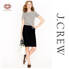 """$20 NWOT J. CREW CHINO BLACK PENCIL SKIRT NWOT Black pencil skirt from J.Crew. 7"""" front slit makes this skirt really a comfortable piece. Front zipper and 2 back pockets. Length: 21"""". Waist: 32"""". Hip: 36"""". 97% cotton 3% spandex size 2 but fits like 6 (go figure, selling as 6 then) Absolute Wardrobe Necessity J. Crew Skirts Pencil"""